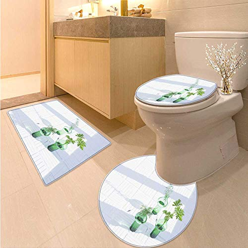 - Miki Da Large Contour Mat There are Three Green Glass Bottles Under The Window to Plant The Plants Soft Non-Slip Water