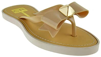 daff52d7050f1c CR Collection Amy 2 Jelly Bow Flip Flop Comfort Flat Sandals Beige 6