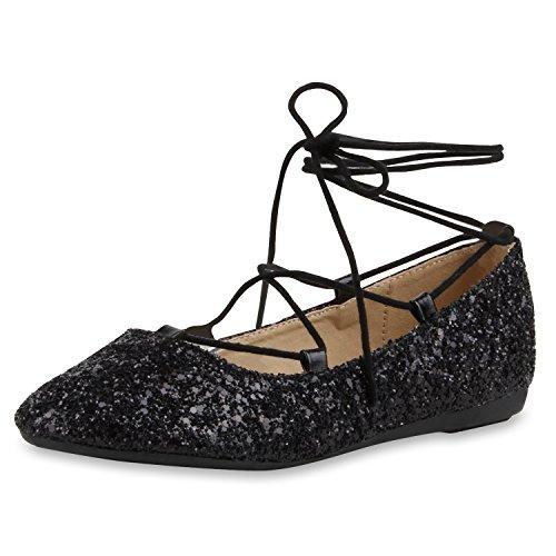 napoli-fashion Damen Riemchenballerinas Lace Up Ballerinas Lack Glitzer Schuhe Veloursleder-Optik Flats Modische Slippers Jennika Schwarz