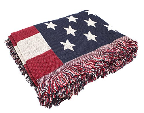"""Fennco Styles American Flag Heavy Double Knit Tapestry Tassels Multi-use Tablecloth Throw Blanket, 51""""x70"""", Multicolor"""
