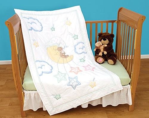 Bear on the Moon Crib Quilt Top