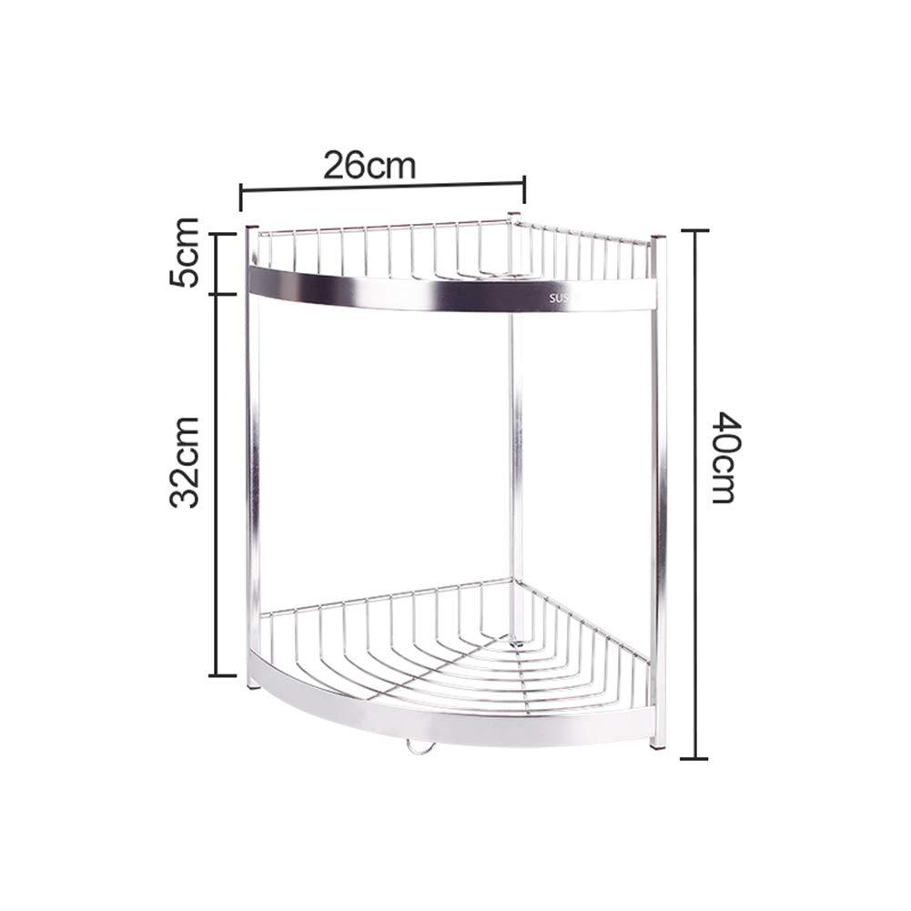 Kitchen Storage Shelf Storage Racks Spice Rack Stainless Steel Corner Seasoning Rack Kitchen Storage Rack Pot Rack Holders ZHAOYONGLI (Size : Double Layer (Tripod)) by ZHAOYONGLI-shounajia (Image #2)