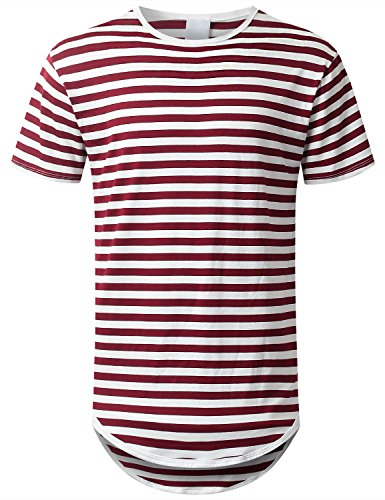 URBANCREWS Mens Hipster Hip Hop Striped Longline Crewneck T-Shirt Burgundy, XXL by URBANCREWS