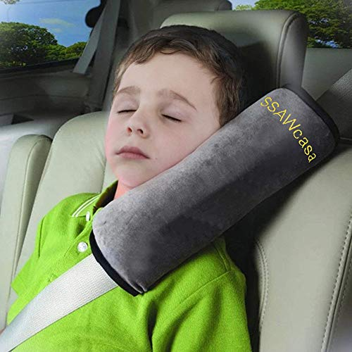 SSAWcasa Seatbelt Pillow for Kids,Car Seat Belt Cover with Clip,Vehicle Shoulder Pads,Safety Belt Protector Cushion,Plush Soft Auto Seat Strap Headrest Neck Support Pillow for Children Baby (Gray)