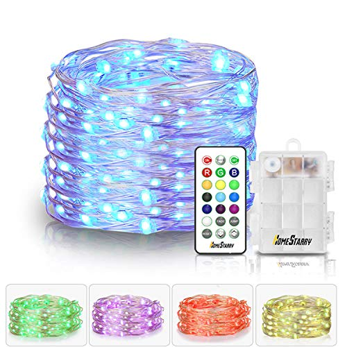 Homestarry Fairy String Multicolor Changing Twinkle Lights with Remote, 16.4 ft 50 LED's,Battery Powered, Indoor Decorative Silver Wire Bedroom,Patio,Outdoor Garden,Stroller