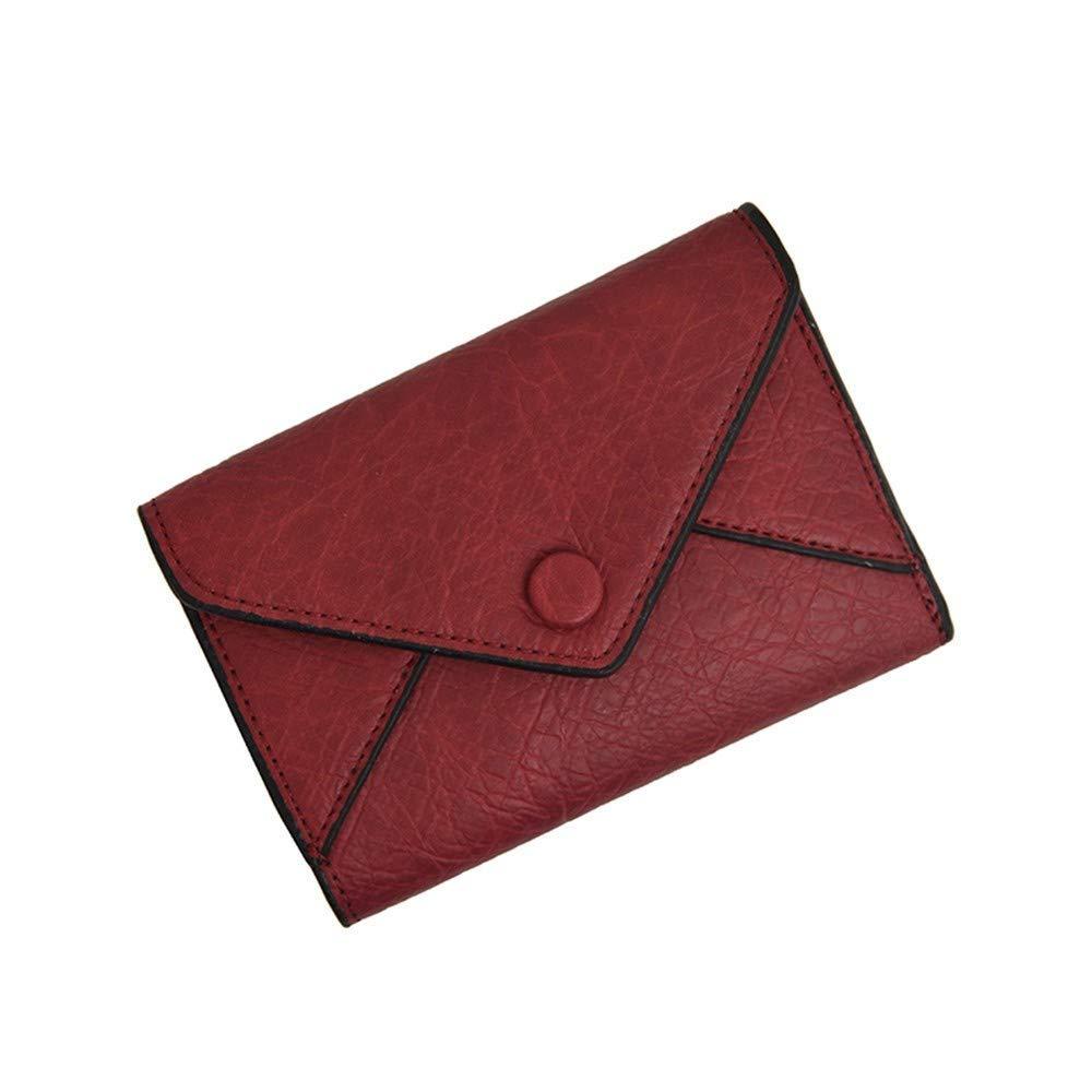Ladies Handbag Women's Wallet New Women's Short Purse Pocket Purse Mini-Wallet (color   Gules)