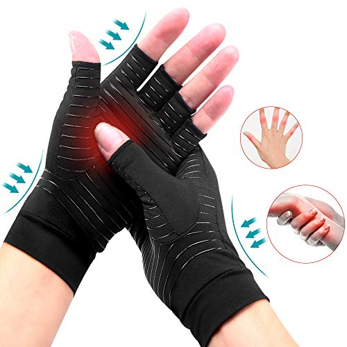 Ricfield Copper Compression Arthritis Gloves, Best Copper Infused Glove for Women and Men, Fingerless Compression Gloves, Pain Relief and Healing for Arthritis, Carpal Tunnel, 1 Pair, Black (Medium)