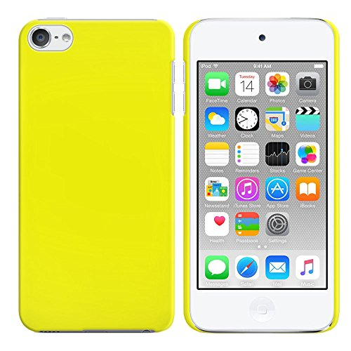 FINCIBO iPod Touch 5 6 Case, Back Cover Hard Plastic Protector Case Stylish Design For Apple iPod Touch 5 6th Generation - Solid Bright Yellow Color (Ipod Yellow Touch)