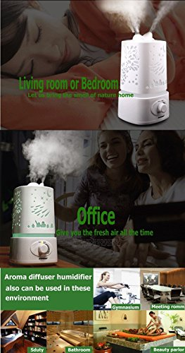 Essential Oil Diffuser Aromatherapy Ultrasonic Transforming Colors - 1500ml Cool Mist Aroma Diffuser, Waterless Auto Shut-off And With 7 LED Auto changing Colors And Adjustable Mist Mode!