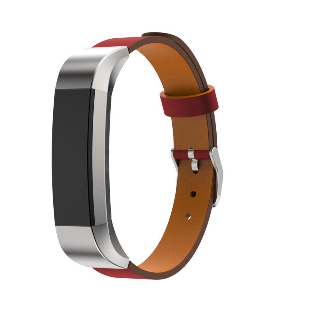 For Fitbit ALTA HRバンド、交換用レザーバンドストラップブレスレットスマート時計スポーツ、バンドアクセサリーレディースメンズ マルチカラー Rambling レッド レッド B074J9L5FG