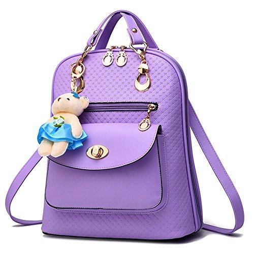 Mujeres Niñas Cuero Pu Suave Simple Moda Mochila Escolar Bolsa de Hombro Bolsa de Camping Azul Oscuro Púrpura