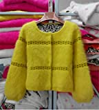 Havadi Coats New 2016 Winter 100% Mink Cashmere Knitted Jackets Women Warm Sweaters Hot Sale Female Cardigans Wa234 Yellowm