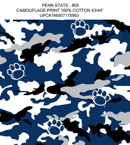 PENN STATE CAMOUFLAGE COTTON FABRIC-PENN STATE NITTANY LIONS CAMOUFLAGE COTTON FABRIC BY SYKEL
