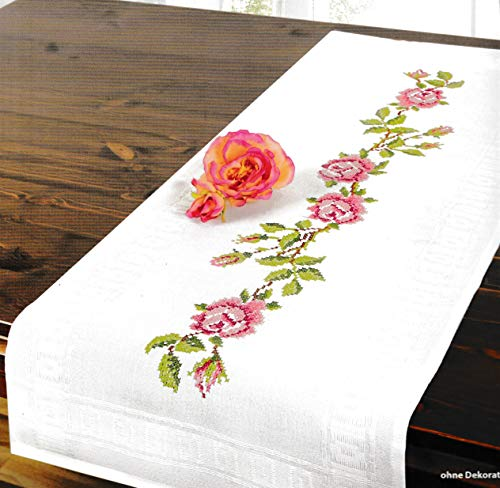 Printed Stamped Cross Stitch Table Runner Kit for Embroidery (Roses 6940)