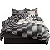 karever Stripes Duvet Cover Striped Full Set Queen Men Women Dark Gray And White Cotton Soft Sets For Boys Kids