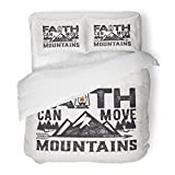 SanChic Duvet Cover Set Jesus Biblical Christian Lettering Faith Can Move Mountains Matthew 17 20 Quote Decorative Bedding Set with 2 Pillow Shams Full/Queen Size