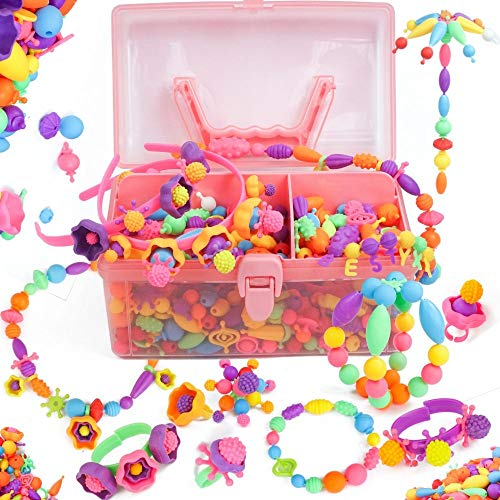 Axel Adventures Jewelry Making Kit - Pop Beads for 5 Minute Arts and Crafts - Supplies for Necklace, Headband, Rings, Bracelet Set - Birthday, Christmas Gifts for 3 Year Old Girls to 8 - 520-Piece