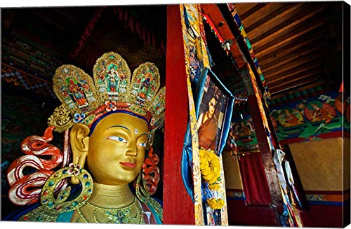Dalai Lama Picture Beside Maitreya Buddha, Thiksey Monastery, Thiksey, Ladakh, India by Anthony Asael/Danita Delimont Canvas Art Wall Picture, Gallery Wrap, 24 x 16 inches