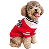 Alfie Pet by Petoga Couture - Sunny Cable Knit Sweater with Ribbon - Color: Red, Size: Large
