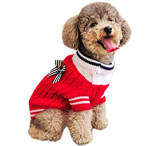 Alfie Pet by Petoga Couture - Sunny Cable Knit Sweater with Ribbon - Color: Red, Size: Large ()