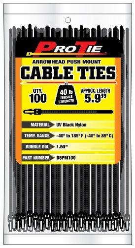 Pro Tie B5PM100 Kabelbinder, 15 cm, Pfeilspitze, zum Einstecken, UV-Nylon, Schwarz, 100 Stück