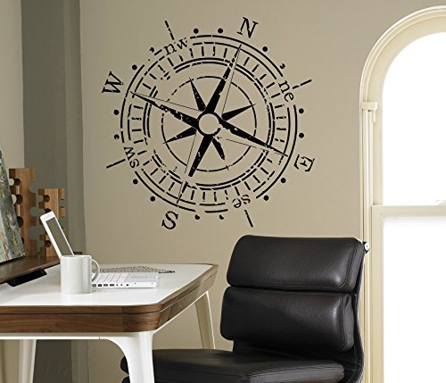 Compass Rose Wall Vinyl Decal Nautical Marine Sea Wall Sticker Home Wall Art Decor Ideas Wall Interior Removable Kids Room Design 5(mrn)