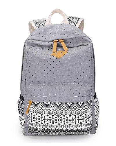 Style School Travel Gray School Backpack Casual Polka Canvas Minetom Backpack Bags Bag Fashion Ethnic Dot Women tqAgvxx0