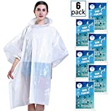 Disposable Rain Poncho for Adults by(6 Pack) Including Drawstring Hood and Premium Quality 50% Thicker Material 100% Waterproof Emergency Rain ponchos-for Concerts,Amusement Parks,Camping-Clear White