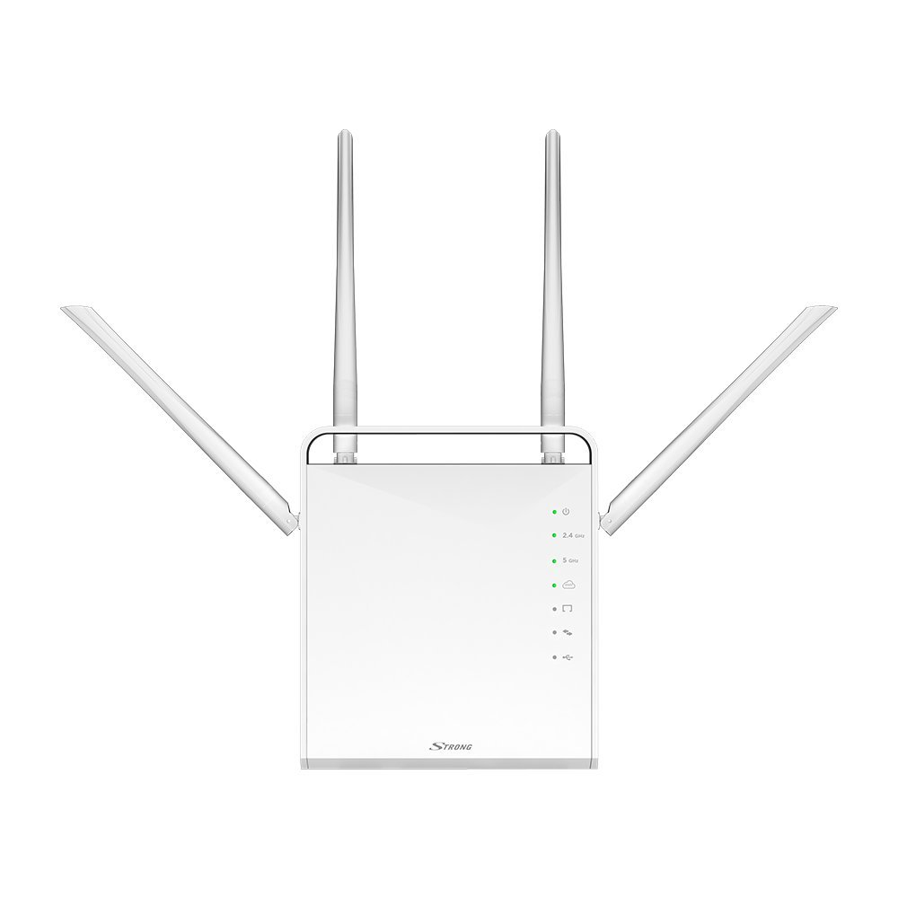 STRONG WLAN Repeater 300 V2, Betriebsmodi: Universal Repeater/Access Point/Router, 300 Mbit/s bei 2,4 GHz, 2 LAN Ports, WLAN Verstärker - weiß REPEATER300V2