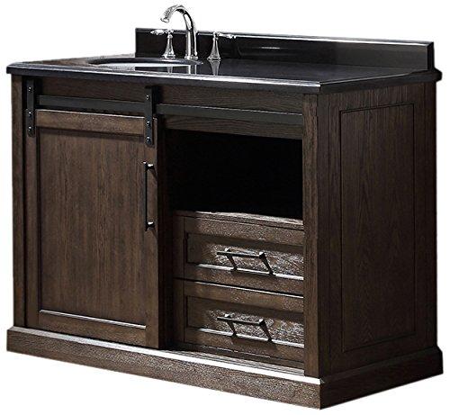Ove Decors SANTA FE 48 Single Vanity in Rustic Walnut Finish with Black Granite Countertop, 48-Inch by 22-Inch