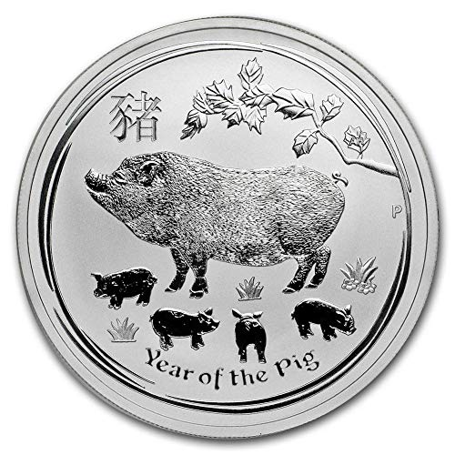 (2019 AU Australian 1 Oz Silver Lunar Series - Year Of The Pig $1 Brilliant Uncirculated w/Our COA)