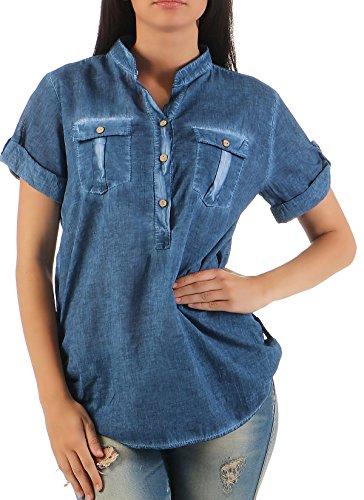 malito Blusa en el Washed-Diseño Túnica Parte Superior Top 9010 Mujer Talla Única azul oscuro