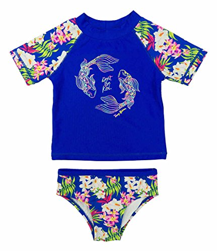(Tommy Bahama Girls 2-Piece Koi Rash Guard and Swim Bottoms Set Dark Blue Size 4T)