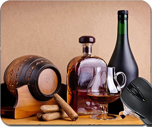 MSD Natural Rubber Mousepad Mouse Pads/Mat design: 14653745 cuban and or brandy in glass bottles and on a wooden - Cognac Cigarillos