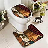 Muyindo 2 Piece Toilet mat set Greek Style Climr Pillow Fruits Vine and Red Ancient Goddess Absorbent Cover