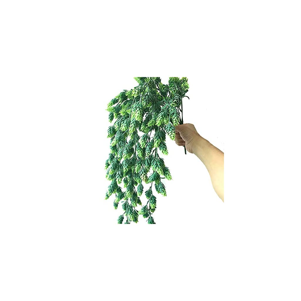 Aisamco 3 Pcs Artificial Hops Flower Vine Garland Plant Fake Hanging Vine Hops Faux Hops Artificial Hanging Plants in Frosted Green 29.5″ in Length for Indoor Outdoor Front Porch Flower Decor
