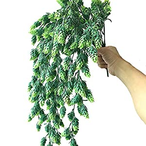 """Aisamco 3 Pcs Artificial Hops Flower Vine Garland Plant Fake Hanging Vine Hops Faux Hops Artificial Hanging Plants in Frosted Green 29.5"""" in Length for Indoor Outdoor Front Porch Flower Decor 4"""