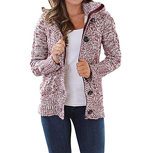 Oasisocean Womens Zip up Hooded Cable Knit Cardigans Button Cable Sweater Coat Outwear Fleece Coats Pockets -