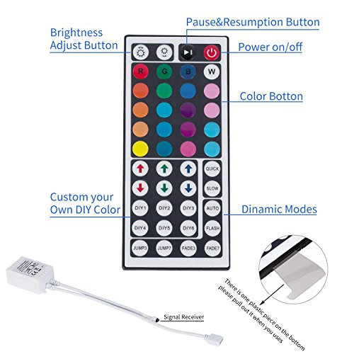 GuoTonG 16.4ft/5m LED Strip Light Kit, 150 Units RGB 5050 Leds, Color Changing, Non-Waterproof 12V DC Light Strips,44 Key IR Remote Controller with Power Supply For Christmas Holiday Home Kitchen Car by GuoTonG (Image #3)