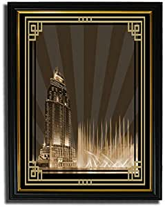 Address Hotel Down Town- Sepia With Gold Border No Text F08-m (a2) - Framed