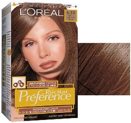 L Oreal Recital Preference permanente pelo Colorante 6.23 Toscana luz Pearl marrón