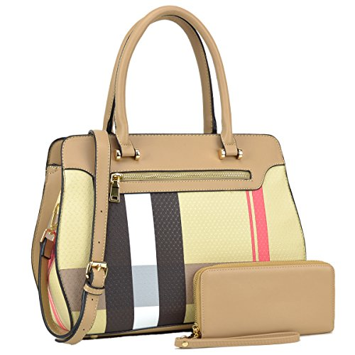MMK Collection Most Popular and Classic 3-in-1/2-in-1 Plaid Style Medium Size Women Satchel with Free Matching Wallet(6341/8421) - Designer Popular Most