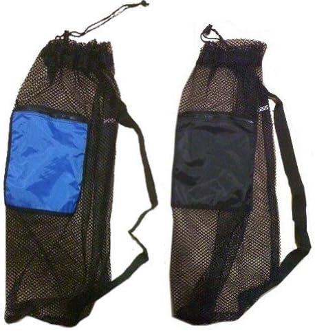 101SNORKEL 2 Pack Mesh Drawstring Snorkel Bag with 1 Black & 1 Blue Zip Pocket 51sb52Kpp-L