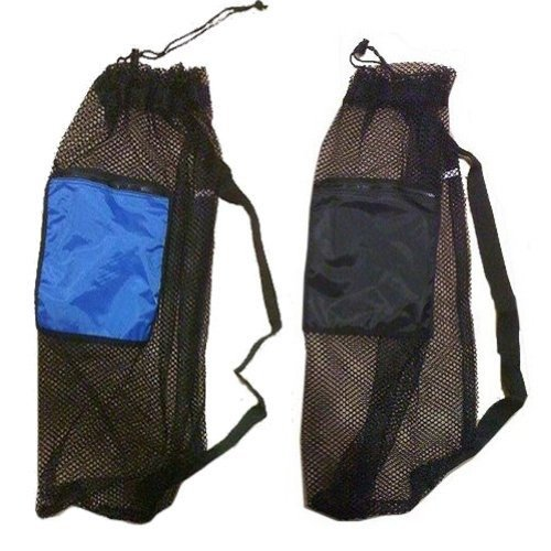2 PACK Mesh Drawstring Snorkel Bag with 1 Black & 1 Blue Zip Pocket