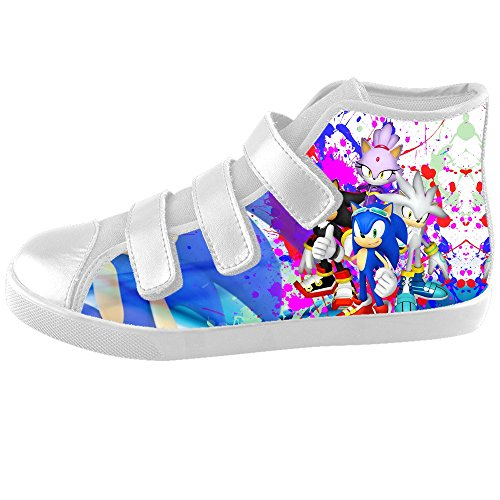 [TD^^MM Custom Video games Sonic The Hedgehog Velcro High Top Canvas Kid's Shoes] (Sonic The Hedgehog Tails Costumes)