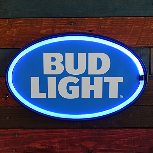 """Bud Light LED Sign, 16"""" Oval Shaped Sign, LED Light Rope That Looks Like Neon, Wall Decor For Man Cave, Garage, & Bar"""