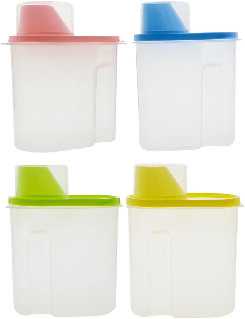 Saim Cereal Container with Pour Spout and Measuring Cup Plastic Clear Food Saver Airtight Watertight Cereal Keeper Food Storage Containers for Rice Grain Cereal Oatmeal Sugar Nuts Beans, 1.9L, 4Pcs