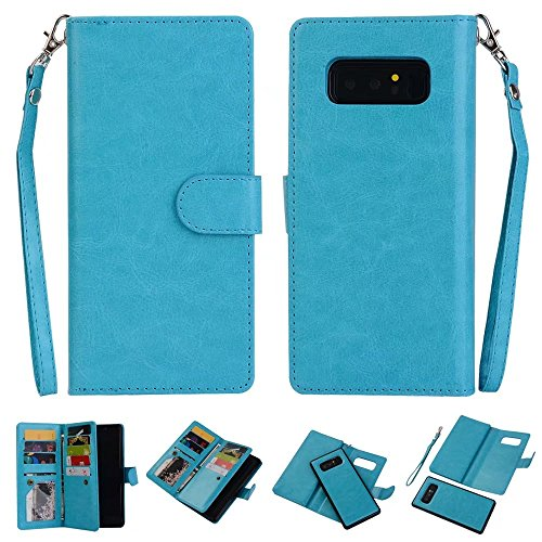 Galaxy Note 8 Case,AIFENG [Wristlet][9 Card Holder][Magnetic Detachable] PU Leather Folio Flip Card Slots Cash Holder Wrist Strap Wallet Case Cover for Samsung Galaxy Note 8 (Blue)