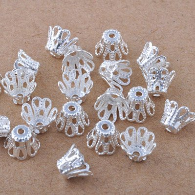 (Beading Station 100-Piece Filigree Flower Cup Shape Bead Caps for Jewelry Making, 7mm, Silver)