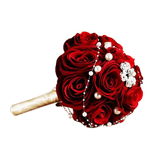 Ikerenwedding Red Velvet Rose Romantic Wedding Bride Bouquet With Diamond Pearl